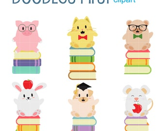 Cute Book Lovers Digital Clip Art for Scrapbooking Card Making Cupcake Toppers Paper Crafts
