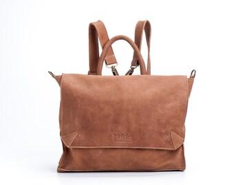 """BROWN Leather Backpack, School Backpack, 17""""Laptop Backpack, Satchel, Rucksack, Shoulder Bag, Sale!"""