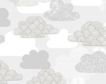 Organic Crib Sheet, Fitted Sheet, Passing Clouds,Gray,Boy,Girl