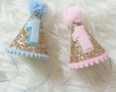 Glittery Mini Party Hats, twin birthday, pink or blue, first birthday,  party hat, cakesmash, prop, boy/girl twins, pink and gold, baby blue