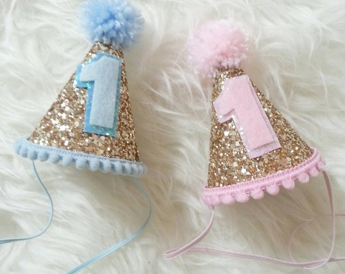 Birthday Pink and Blue Glittery Mini Party Hats || Twin Birthday Party || Twin 1st Birthday || Ready to Ship