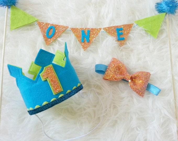 Birthday Boy Cake Smash Set | Birthday Crown | Birthday Hat | Bow Tie | Cake Banner | Cakesmash | First Birthday | Birthday Boy