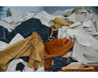 Scrap Leather Cow Hide, 1 pound, 2-3 oz, Colors Mix, DIY, Craft Supply, Remnants - 82984