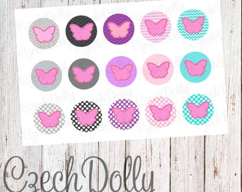 Butterfly Bottle Cap Images 4x6 JPEG 1 inch Printable Bottle Cap Images Glitter Chevron Polka Dot {300dpi} INSTANT DOWNLOAD
