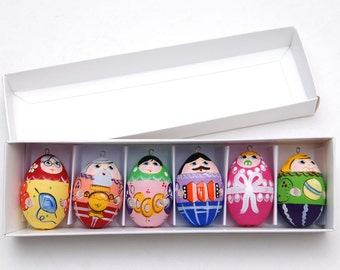 Russian Christmas ornaments eggs family 6 pc Free Shipping plus free gift!