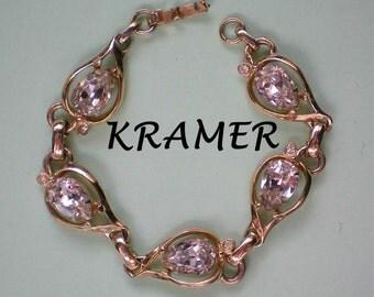Fabulous Signed Kramer Rhinestone Station Bracelet - 3890