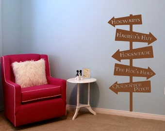 Harry Potter wood road sign, Hogwarts Hogsmeade road sign vinyl wall decal