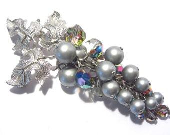 Vintage Gray Pearl Smoky Crystal Cluster Brooch
