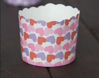 CLEARANCE SALE! Red Pink Purple Heart Baking Cups Muffins Cups Treat Cups (10)