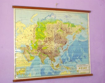 Asian Map, Geography School Map, Canvas Chart, Pull Down Chart, Large School Map, World Chart, Classroom Chart, Landscape Map, World Map