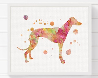 Orange Greyhound, Greyhound Art, Watercolor Greyhound, Greyhound Print, Greyhound Painting, Watercolor Dog, Dog Wall Art, Dog Lover Gift