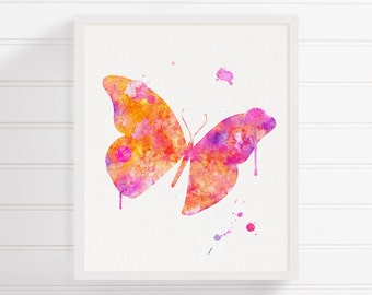 Butterfly Wall Art, Butterfly Painting, Butterfly Print, Baby Girl Nursery, Girls Room Decor, Watercolor Butterfly, Butterfly Poster