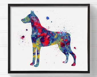 Doberman Painting, Watercolor Doberman, Doberman Art, Doberman Print, Doberman Poster, Dog Wall Art, Watercolor Dog, Doberman Pinscher