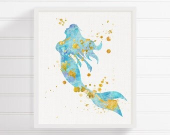 Mermaid Art Print, Watercolor Mermaid, Mermaid Painting, Mermaid Wall Art, Mermaid Wall Decor, Nursery Wall Decor, Bathroom Decor, Nautical