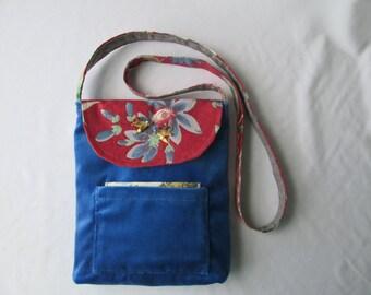 Shoulder Bag - Royal Blue Velvet - Floral Print Flap - Vintage Earring Decorations - Gift for Her