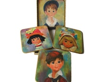 Win El Ware Big Eyed Children Vintage Boxed Trivet Set / 1950s Home Decor / Vintage Barware / Vintage Table Mats
