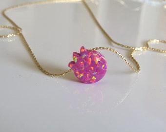 Gold opal pomegranate necklace , silver opal pomegranate necklace , Jewish jewelry , Israel land symbol, bat mitzva gift , kabala jewelry
