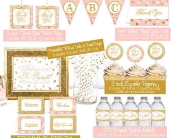 Baby Shower Party Decorations - Blush Pink Gold Glitter - It's A Girl - Printable Bottle Labels Banner Cupcake Toppers Favor Tags Food Tents