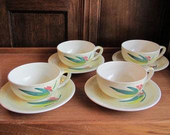 "Vintage 1950s Vernonware ""Shadow Leaf"" (4) Cups & Saucers Handpainted Vernon Kilns [W]"