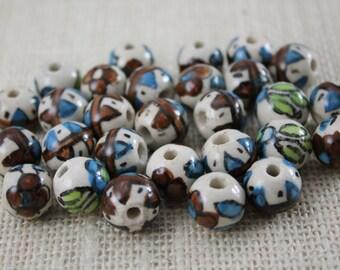 Vintage Floral Pattern Aztec Brown Blue Green Ceramic Beads (6 Pieces)