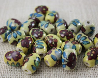 Vintage Floral Pattern Yellow Ceramic Beads (8 Pieces)