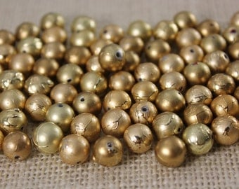 Vintage Matte Gold Drizzle 8mm Round Beads (34 Pieces)