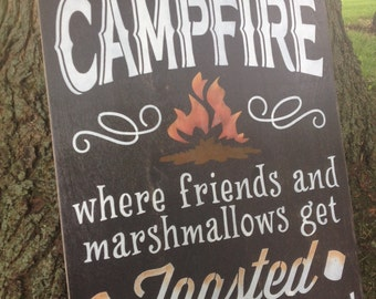 Extra Large Welcome to Our Campfire Handpainted Sign on Wood by, IzzyB Vintage Me