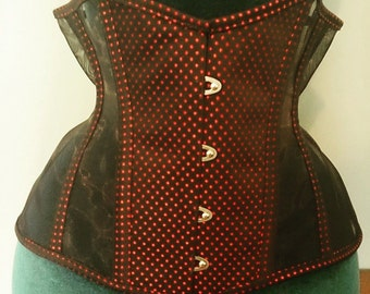 "Black and red sheer underbust corset. 24"" waist."