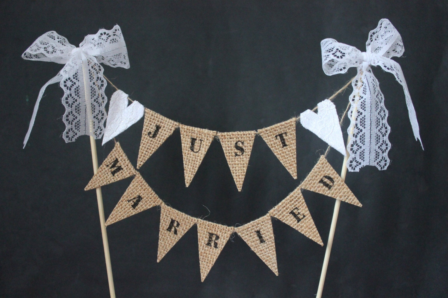 Just Married wedding cake topper hessian and lace cake
