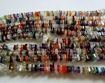 3-4 mm Multi Semi-precious Fancy Square Heishi Cut Full 7 inch strand-AAA+ Rare Quality,Best Price