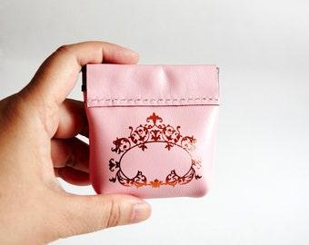 Handmade pink leather flex frames coin purse
