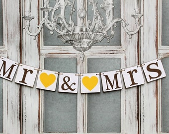 MR & MRS WEDDING Banners-Wedding Signs- Rustic wedding reception banners-wedding garland