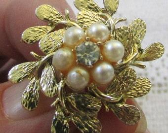 Coro vintage pearl and rhinestone flower earrings bridal prom wedding