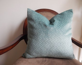 Duralee soft geometric velvet,aqua,18x18-19x19-20x20,pillow cover,decorative pillow,same fabric on Both Sides