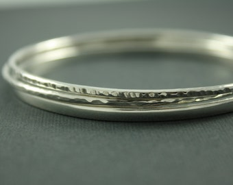Bangle Bracelet Set, Sterling Silver Bangles, Set of Three Bangles, Thin Silver Bangles
