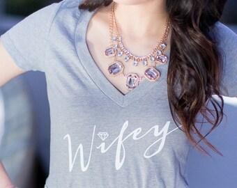 Wifey Shirt, T-shirt, Gray shirt, Gifts for Wifey, Gifts for Bride to be, Wifey Shirt, Bride Shirt, Bridal Shower Gift, Bachelorette Party