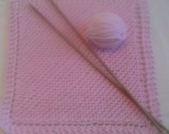100% Cotton Hand Knitted Washcloth - Very Soft in Pink