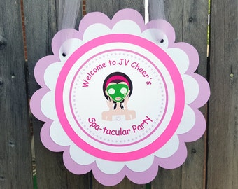 Spa Birthday Door Sign, Spa Party Door Hanger, Spa Party Decorations