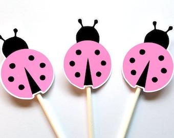 Ladybug Cupcake Toppers, Pink Ladybug Cupcake Toppers