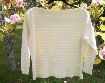 LEMONY YELLOW White STRIPES, Lauren by Ralph Lauren Top, M
