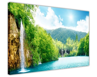 """Beautiful Waterfall and Forest Landscape Framed Canvas Prints Wall Art Pictures Home Decoration Nature Poster Size: 40"""" X 30"""" (101CM X 76CM)"""