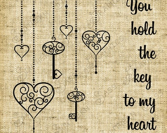 You hold the key to my heart/Love/Valentine/Card Making/Digital Design - INSTANT DOWNLOAD