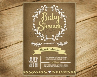 Rustic / Natural / Gender Neutral / Shabby Chic /  Baby Shower Invitation