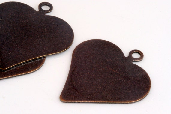 9 pcs 35 x 30 mm (thickness 0.8 mm 20 gauge) antique copper tone heart shape tag stamp tag charms with 1 hole ,findings 1036AC-38
