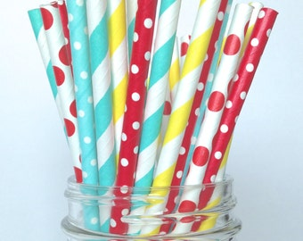 Circus Carnival Paper Straws, Picnic Drinking Straws, Birthday Party straw, 1st Birthday Decor, Circus birthday baby shower, carnival party