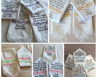 Set of six personalized handkerchief hankie