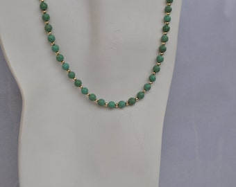 Green Turquoise and Silver Beaded Necklace