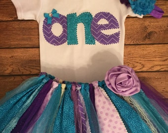 Purple and Turquoise Birthday Tutu Outfit