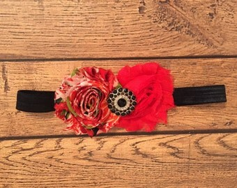Red and Black Shabby Flower Headband