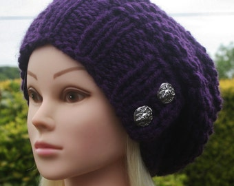 Hand Knit Hat- Womens Hat- Slouchy- Beanie hat- Chunky winter hat- Purple hat with 2 silver buttons- Womens Accessories
